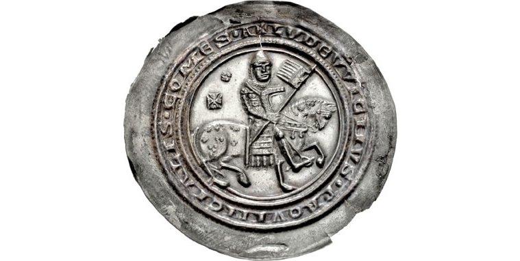 Ludwig III. (Thüringen) (1172–1190), Landgraf von Thüringen, Reiterbrakteat um 1180, Münzstätte Gotha oder Eisenach