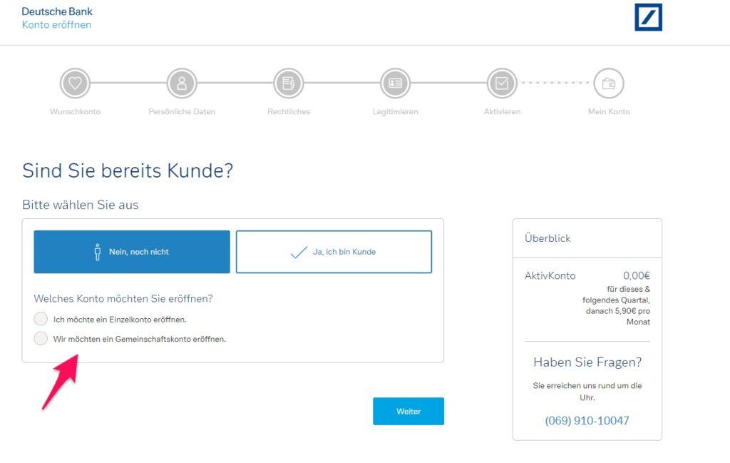 Deutsche Bank Konto eröffnen Kunde