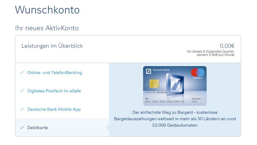 Deutsche Bank Konto eröffnen Wunschkonto