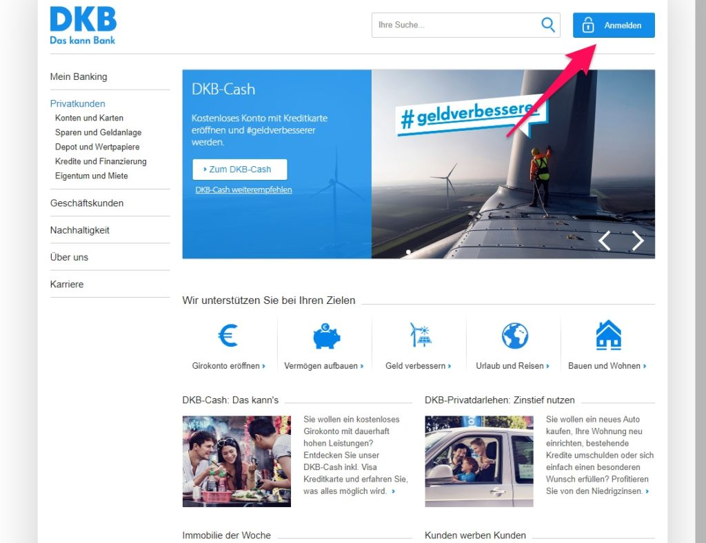 DKB Startseite anmelden