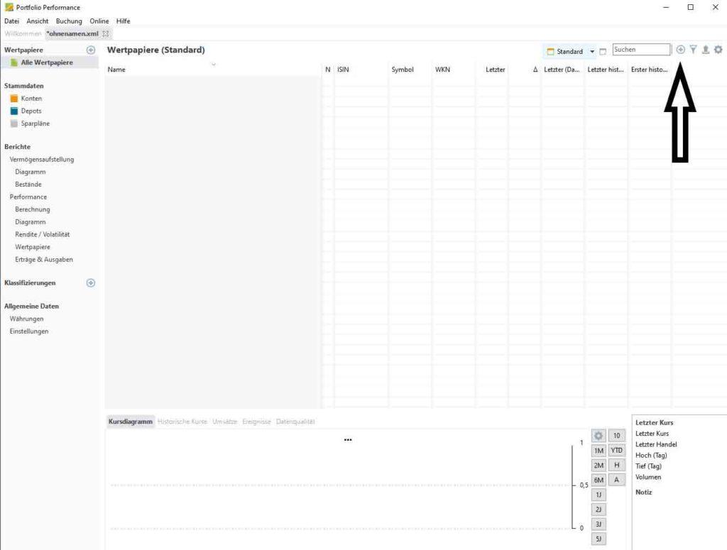 portfolio performance wertpapiere hinzufügen